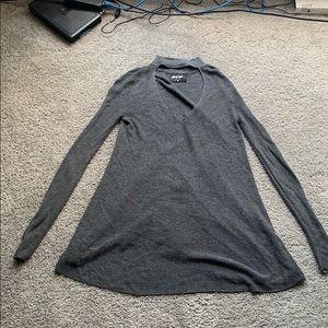 Grey keyhole neck sweater mini dress